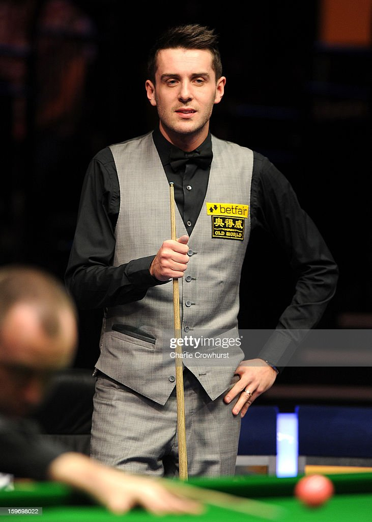 Mark Selby of England watches on during his quarter-final match against Mark Williams of Wales at Alexandra Palace on January 18, 2013 in London England.
