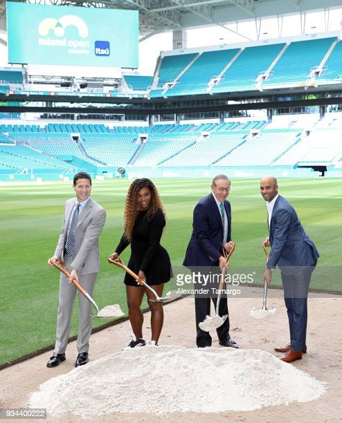 Mark Shapiro Serena Williams Stephen M Ross and James Blake are seen at the 2018 Miami Open Hard Rock Stadium Ground Breaking Ceremony at Hard Rock...