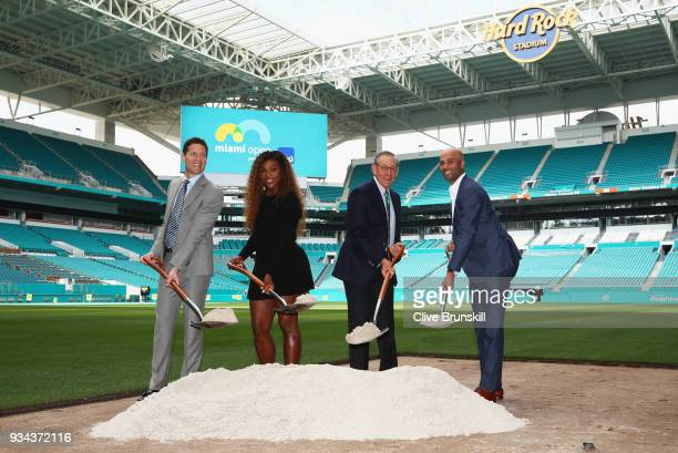 Mark Sharpiro WME/IMG CoPresident Serena Williams Stephen Ross Miami Dolphins owner and James BlakeTournament Director pose for a photograph at the...