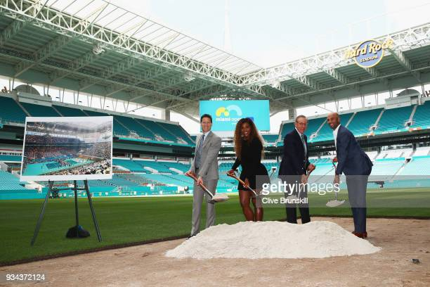 Mark Sharpiro WME/IMG Co-President, Serena Williams, Stephen Ross, Miami Dolphins owner and James Blake,Tournament Director pose for a photograph at...