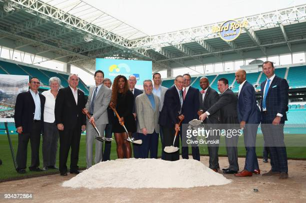 Mark Sharpiro WME/IMG CoPresident Serena Williams Stephen Ross Miami Dolphins owner and James BlakeTournament Director pose for a photographs with...