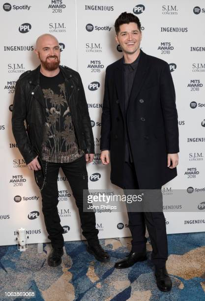 Mark Sheehan and Danny O'Donoghue attend the 27th Annual Music Industry Trusts Award 2018 at Grosvenor House on November 05 2018 in London England