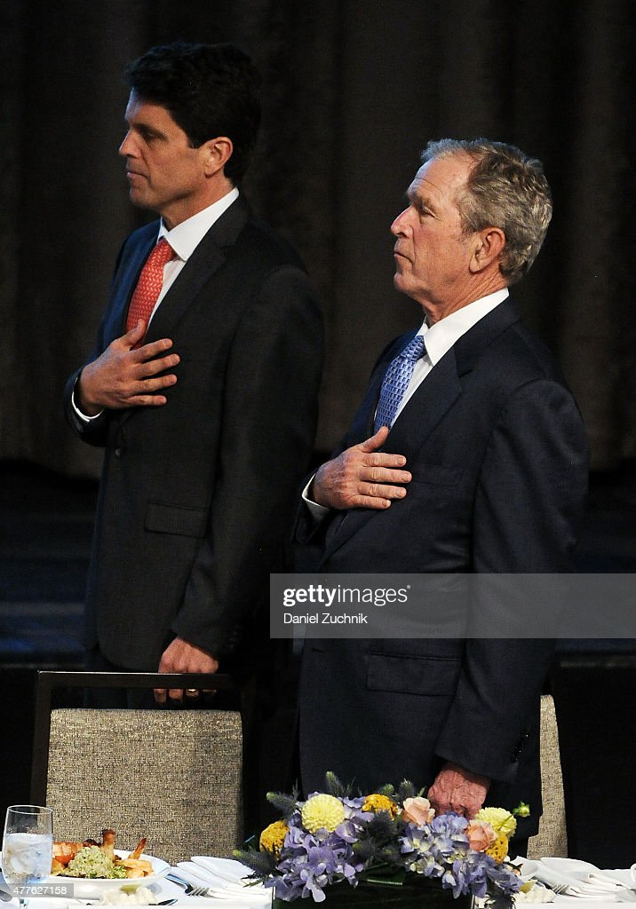 Mark Shriver and George W. Bush attend the 2015 Father Of The Year Luncheon Awards at New York Hilton on June 18, 2015 in New York City.