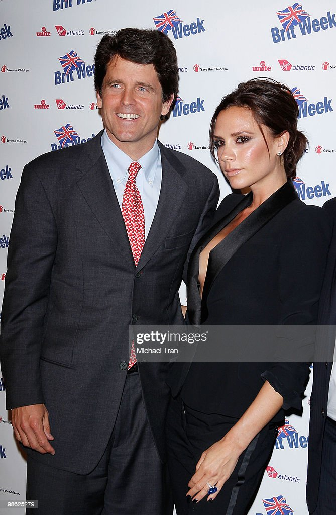 Mark Shriver (L) and Victoria Beckham arrive to the BritWeek 2010 charity event: 'Save The Children And Virgin Unite' held at the Beverly Wilshire hotel on April 22, 2010 in Beverly Hills, California.