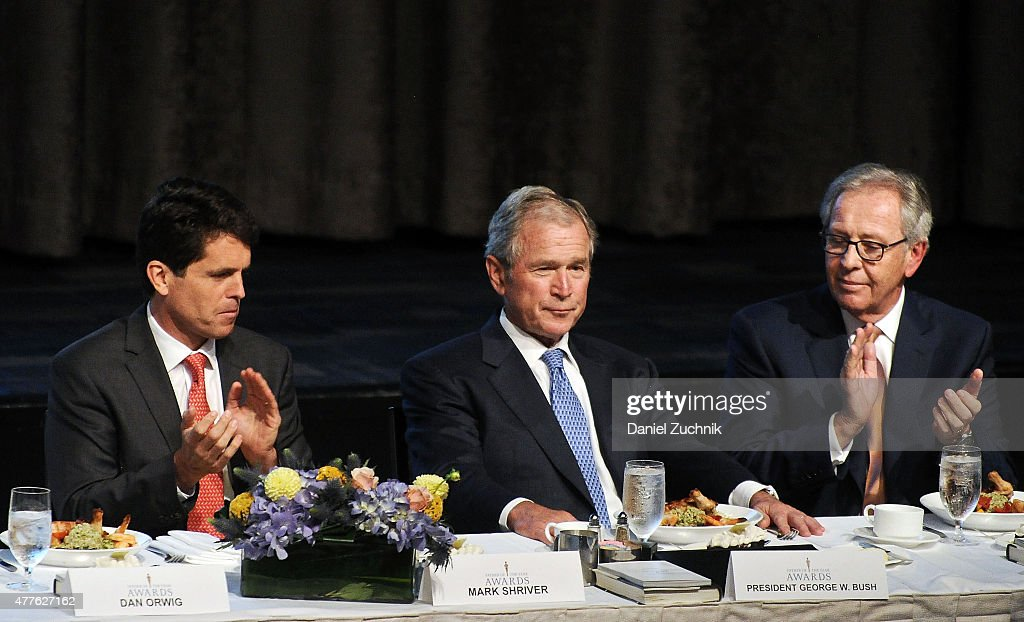 Mark Shriver, George W. Bush and Morris Goldfarb attend the 2015 Father Of The Year Luncheon Awards at New York Hilton on June 18, 2015 in New York City.