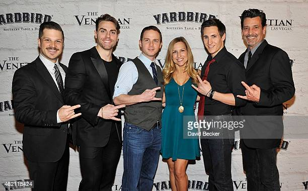 Mark Shunock Colt Prattes Dane Biren Tiffany Engen John Krause and Bob Torti from the show 'Rock of Ages' arrive at the grand opening of The Venetian...
