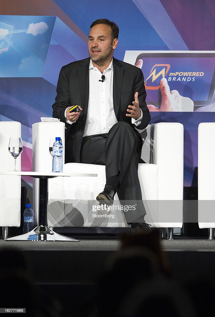Mark Shuttleworth, founder of Ubuntu, speaks on a panel during a keynote address at the Mobile World Congress in Barcelona, Spain, on Tuesday, Feb. 26, 2013. The Mobile World Congress, where 1,500 exhibitors converge to discuss the future of wireless communication, is a global showcase for the mobile technology industry and runs from Feb. 25 through Feb. 28. Photographer: Angel Navarrete/Bloomberg via Getty Images