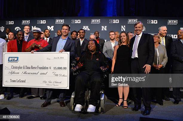 Mark Silverman Eric LeGrand and Kim Beauvais attend The Big Ten Network Kick Off Party at Cipriani 42nd Street on June 26 2014 in New York City