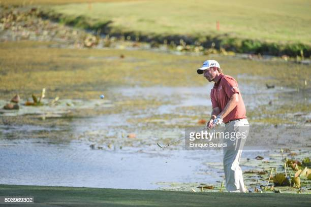 Mark Silvers of the United States hits out of a bunker on the 18th hole during the third round of the PGA TOUR Latinoamerica Puerto Plata DR Open at...