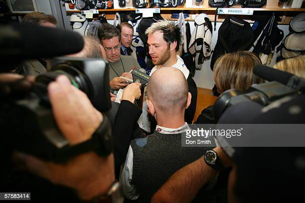 Mark Smith of the San Jose Sharks talks with the media following Game 2 of the Western Conference Semifinals against the Edmonton Oilers on May 8,...
