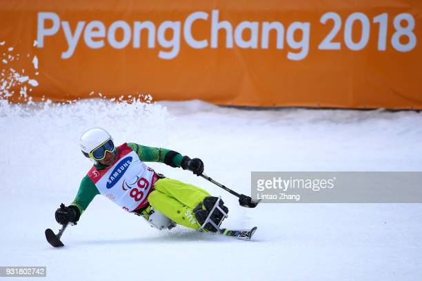 Mark Soyer of Australia competes in the Men's Giant Slalom Run Sitting at Alpensia Biathlon Centre on day five of the PyeongChang 2018 Paralympic...