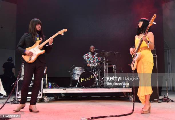 Mark Speer, Donald Johnson, and Laura Lee of Khruangbin perform during FORM Arcosanti 2019 at Arcosanti Urban Laboratory on May 11, 2019 in...