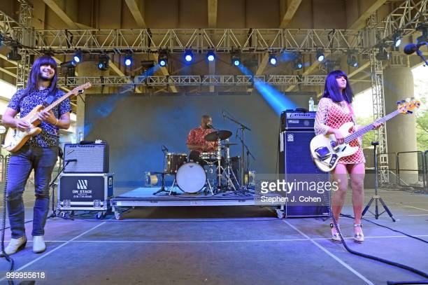 Mark Speer Donald Johnson Laura Lee of the music trio Khruangbin performs on Day 3 of the 2018 Forecastle Music Festival on July 15 2018 in...