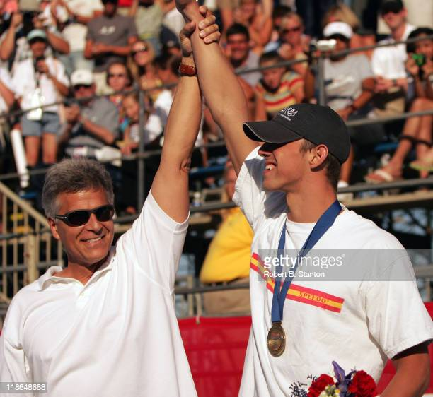 Mark Spitz and Michael Phelps at the Olympic Swim Team Trials at the Charter All Digital Aquatic Centrein Long Beach, California, June 10, 2004.