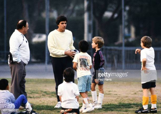 Mark Spitz and son Matthew attend a soccer training session Mark Spitz is trying to get in shape for the 1992 Olympics May 17 1990 Pacific Palisades...