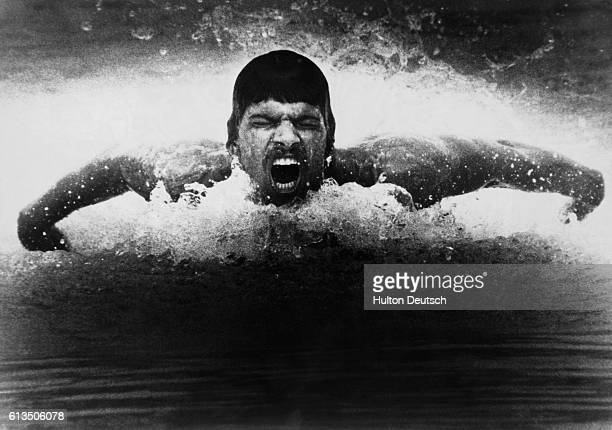 Mark Spitz the United States swimming champion swimming the butterfly stroke during a training session in 1972
