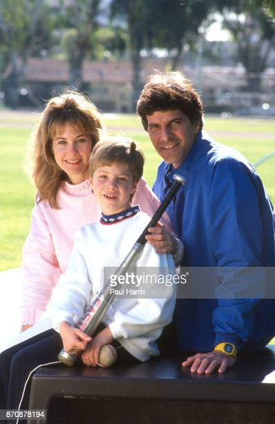 Mark Spitz with his wife Suzi and son Matthew attend a softball match Mark Spitz is trying to get in shape for the 1992 Olympics May 17 1990 Pacific...