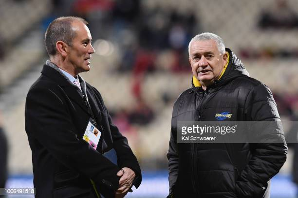 Mark Stafford of TAB and Head Coach Chris Boyd of the Hurricanes look on prior to the Super Rugby Semi Final match between the Crusaders and the...