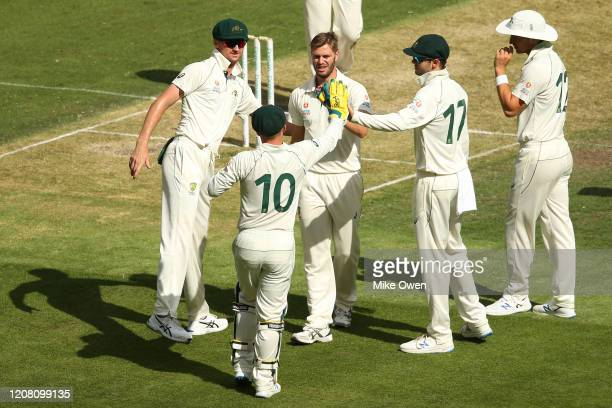 Mark Steketee 2 of Australia celebrates after dismissing Dom Bess of the England Lions during the Four Day match between Australia A and the England...
