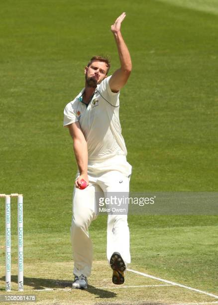 Mark Steketee of Australia bowls during the Four Day match between Australia A and the England Lions at Melbourne Cricket Ground on February 23 2020...