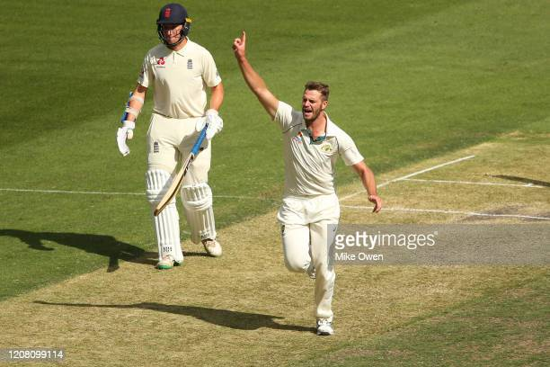 Mark Steketee of Australia celebrates after dismissing Dom Bess of the England Lions during the Four Day match between Australia A and the England...