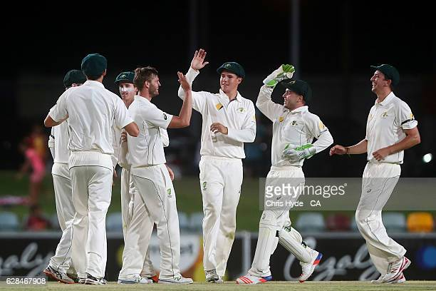 Mark Steketee of Australia XI celebrates with team mates after dismissing Sarfraz Ahmed of Pakistan during the tour match between Cricket Australia...