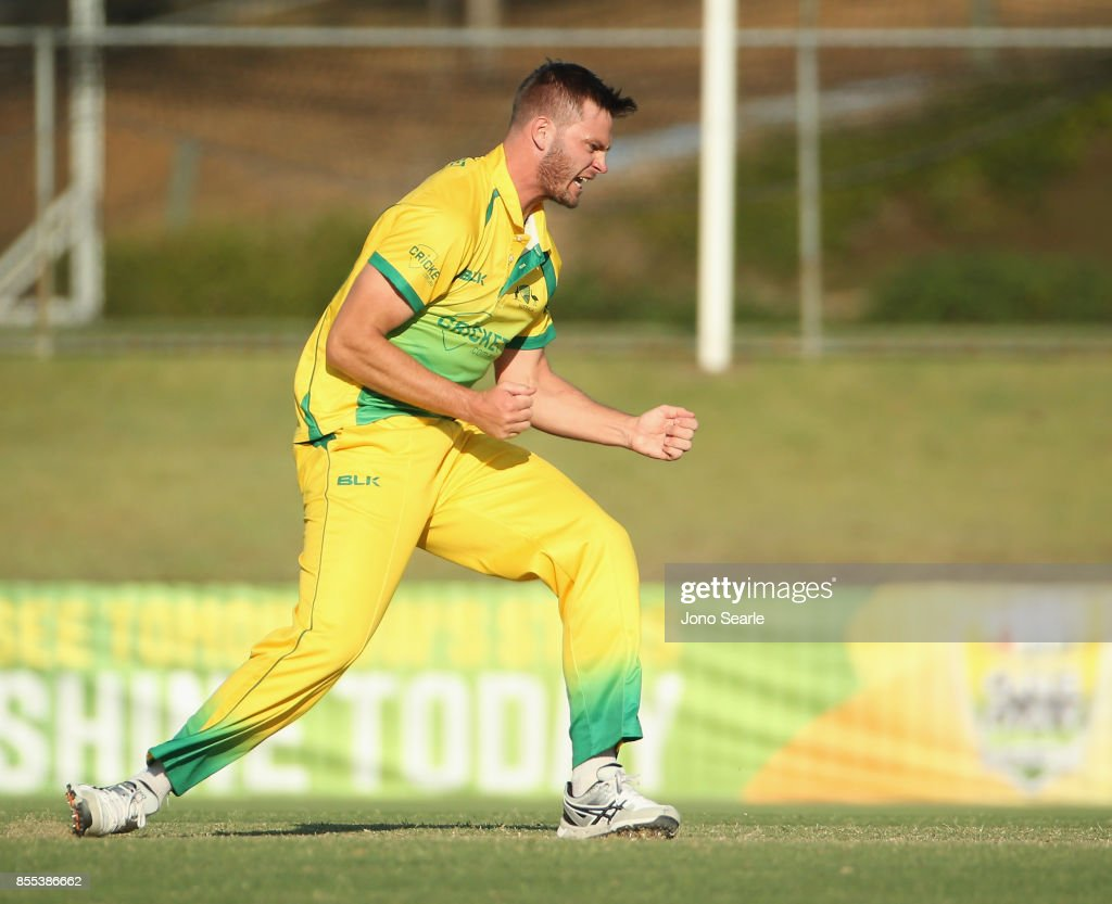 Mark Steketee of CA XI celbrates taking a wicket during the JLT One Day Cup match between Queensland and the Cricket Australia XI at Allan Border Field on September 29, 2017 in Brisbane, Australia.