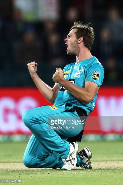 Mark Steketee of the Heat celebrates after claiming the wicket of Ben Cutting of the Thunder during the Big Bash League match between the Sydney...