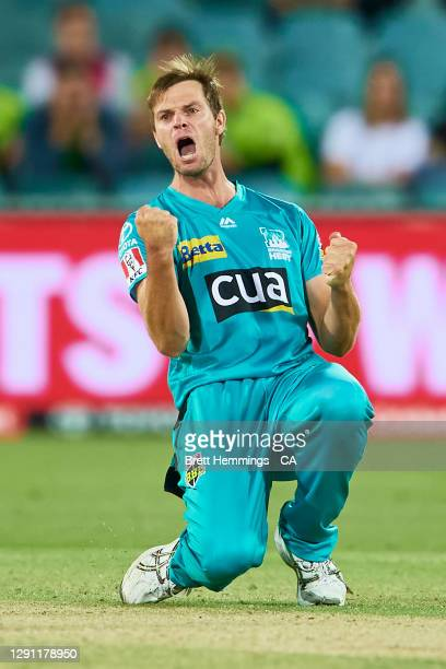 Mark Steketee of the Heat celebrates after taking the wicket of Ben Cutting of the Thunder during the Big Bash League match between the Sydney...