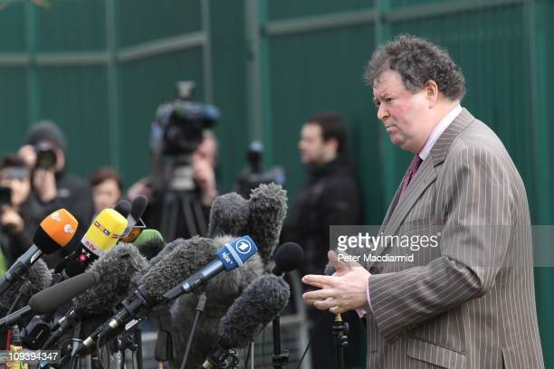 Mark Stephens, the lawyer representing WikiLeaks founder Julian Assange speaks to the press outside Belmarsh Magistrates' Court on February 24, 2011...