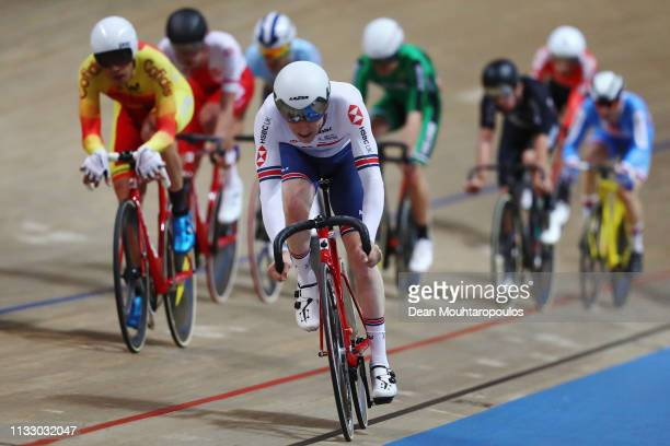 Mark Stewart of Great Britain competes in the Men's Points Race Final on day three of the UCI Track Cycling World Championships held in the BGZ BNP...