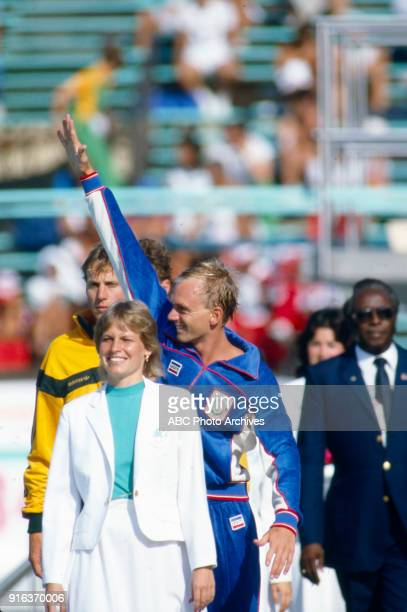 Mark Stockwell Rowdy Gaines Men's swimming 100 metre freestyle medal ceremony McDonald's Olympic Swim Stadium at the 1984 Summer Olympics July 31 1984