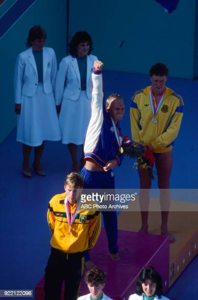 Mark Stockwell Rowdy Gaines Per Johansson Men's swimming 100 metre freestyle medal ceremony McDonald's Olympic Swim Stadium at the 1984 Summer...