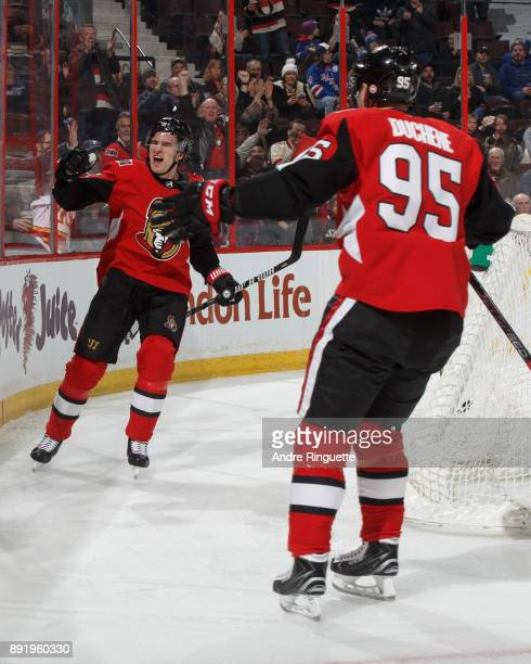Mark Stone and Matt Duchene of the Ottawa Senators celebrate a first period goal against the New York Rangers at Canadian Tire Centre on December 13...