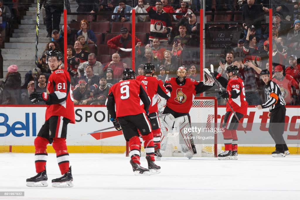 Mark Stone #61, Bobby Ryan #9, Cody Ceci #5, Matt Duchene #95 and Craig Anderson #41 of the Ottawa Senators celebrate a 3-2 victory against the New York Rangers at Canadian Tire Centre on December 13, 2017 in Ottawa, Ontario, Canada.