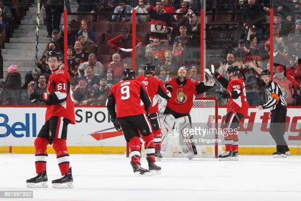 Mark Stone Bobby Ryan Cody Ceci Matt Duchene and Craig Anderson of the Ottawa Senators celebrate a 32 victory against the New York Rangers at...