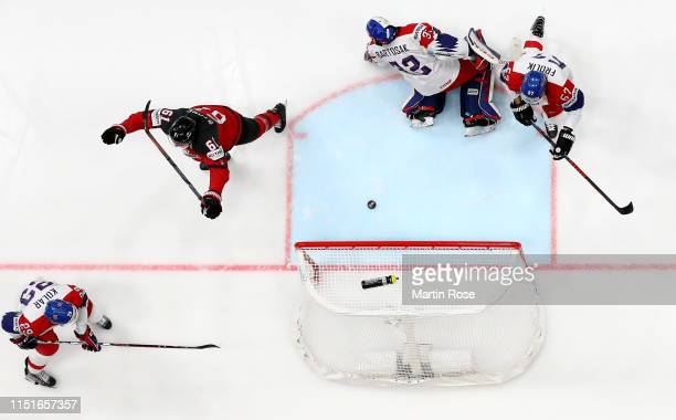 Mark Stone of Canada celebrates after he scores the opening goal during the 2019 IIHF Ice Hockey World Championship Slovakia semi final game between...