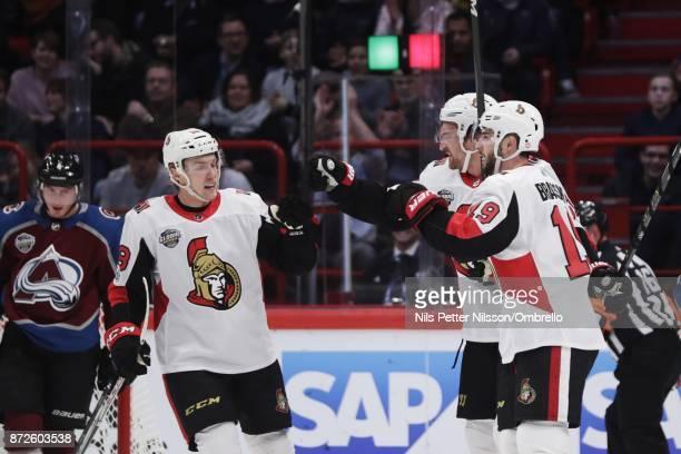 Mark Stone of Ottawa Senators celebrates after scoring to 12 during the 2017 SAP NHL Global Series match between Ottawa Senators and Colorado...