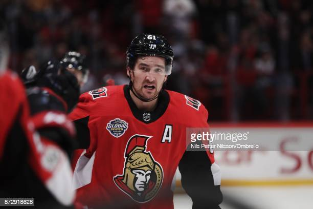 Mark Stone of Ottawa Senators celebrates after scoring to 22 during the 2017 SAP NHL Global Series match between Colorado Avalanche and Ottawa...