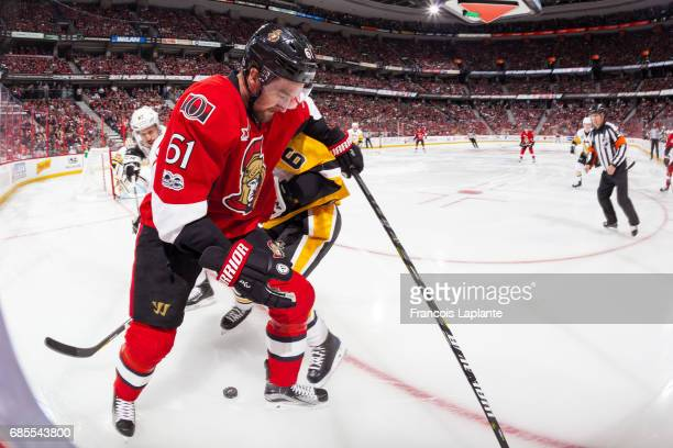 Mark Stone of the Ottawa Senators battles for the puck against Trevor Daley of the Pittsburgh Penguins in Game Four of the Eastern Conference Final...