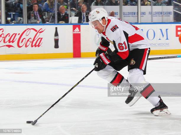 Mark Stone of the Ottawa Senators carries the puck during an NHL game against the Buffalo Sabres on November 3 2018 at KeyBank Center in Buffalo New...