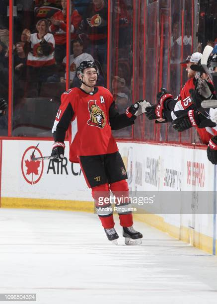 Mark Stone of the Ottawa Senators celebrates a goal against the Colorado Avalanche at Canadian Tire Centre on January 16 2019 in Ottawa Ontario Canada