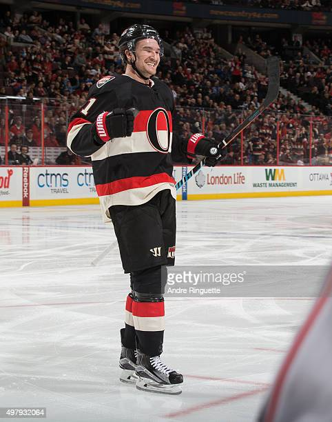 Mark Stone of the Ottawa Senators celebrates a goal against the Columbus Blue Jackets at Canadian Tire Centre on November 19 2015 in Ottawa Ontario...