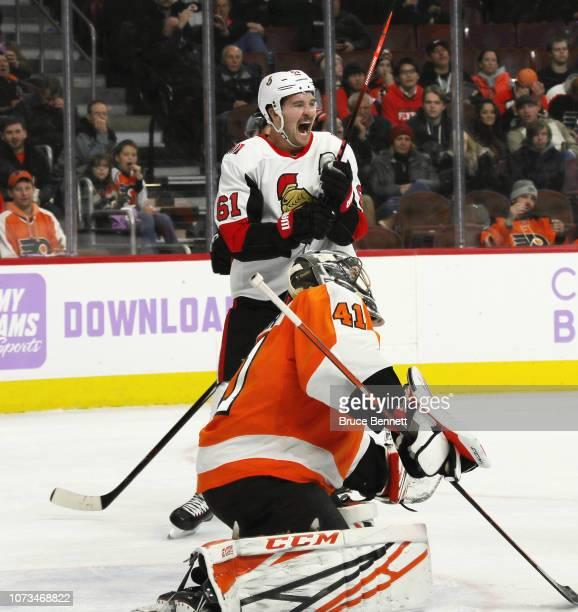 Mark Stone of the Ottawa Senators celebrates a third period goal by Brady Tkachuk against Anthony Stolarz of the Philadelphia Flyers at the Wells...