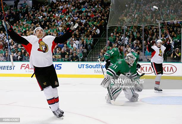Mark Stone of the Ottawa Senators celebrates after scoring a goal against Antti Niemi of the Dallas Stars in the second period at American Airlines...