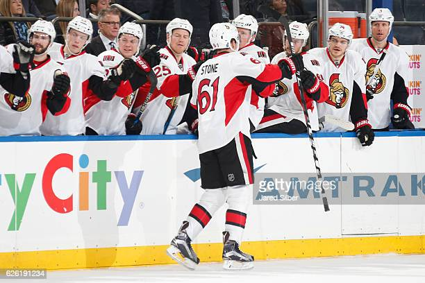 Mark Stone of the Ottawa Senators celebrates after scoring in the second period against the New York Rangers at Madison Square Garden on November 27...