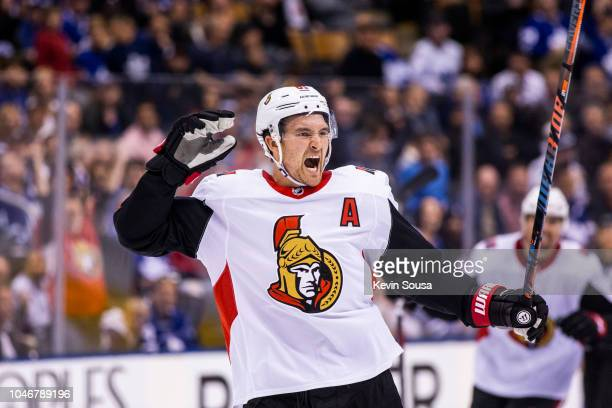 Mark Stone of the Ottawa Senators celebrates an empty net goal during the third period against the Toronto Maple Leafs at the Scotiabank Arena on...