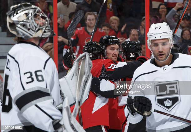 Mark Stone of the Ottawa Senators celebrates his first period goal against Jack Campbell and Alec Martinez of the Los Angeles Kings at Canadian Tire...