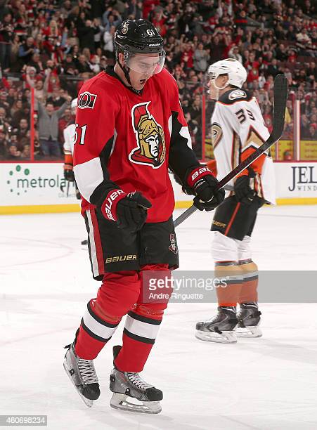 Mark Stone of the Ottawa Senators celebrates his first period goal against the Anaheim Ducks at Canadian Tire Centre on December 19 2014 in Ottawa...