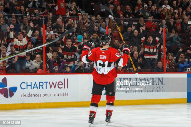Mark Stone of the Ottawa Senators celebrates his first period goal against the New York Rangers at Canadian Tire Centre on February 18 2018 in Ottawa...